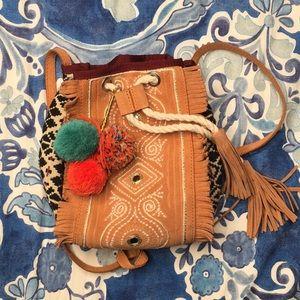 Zara fringe mirrored embroidered pompom bucket bag